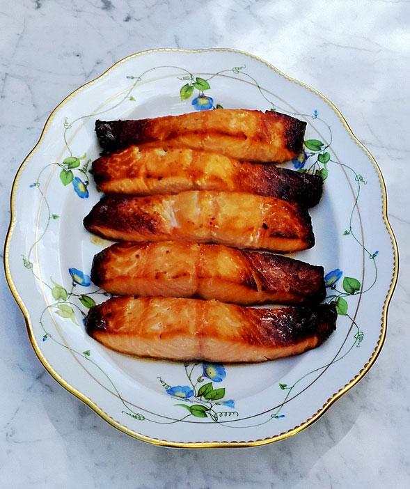 Miso caramelised salmon