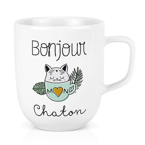 Mug XL - Bonjour Mon Chaton - Créa-Bisontine