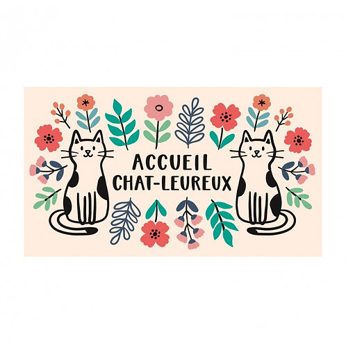 Paillasson COCO/PVC Accueil chat-leureux fleurs - DLP