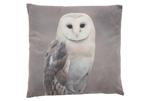 Coussin Chouette Polyester Gris/Blanc