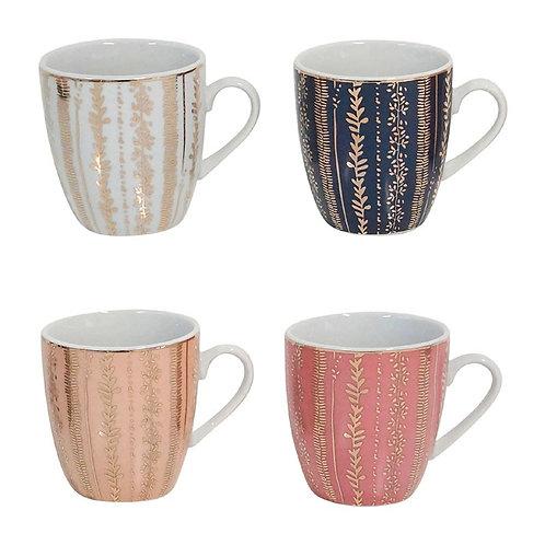 4 Tasses 17.5cl VEG-GOLD - Porcelaine