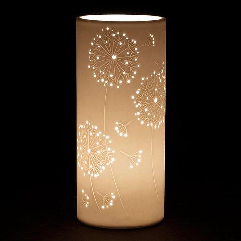 Lampe Cylindrique PISSENLIT Porcelaine H28cm