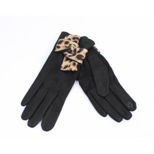 Gant suédine motif panthère - noir