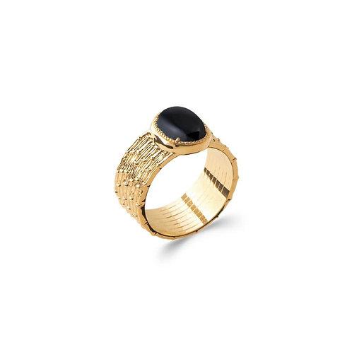 Bague-Plaqué Or -Agathe noire