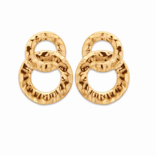 Boucles d'oreilles - Cercles entrelacés martelés