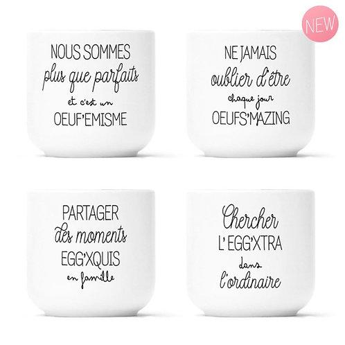 """Coffret 4 coquetiers """"Egg'xquis, Egg'xtra, Œuf'emisme et Œufs'mazing"""""""