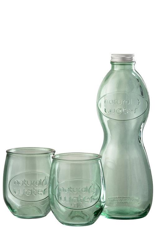 Coffret Bouteille + 2 verres VERT - Verre recyclé
