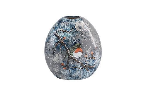 "Vase Rond ""Oiseau Enneigé"""