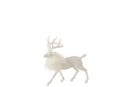 Cerf Fourrure Resine Blanc Small