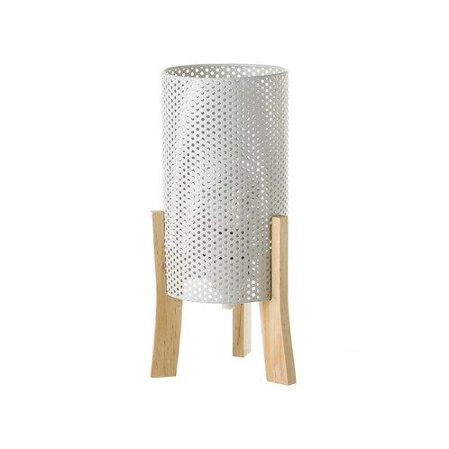 Lampe métal blanc / bois