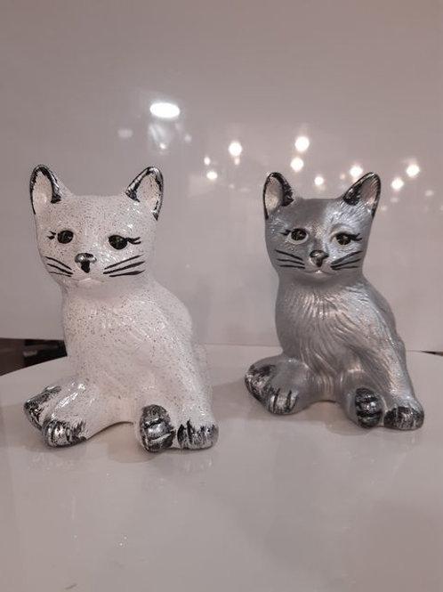 Chat Assis - Blanc ou Gris