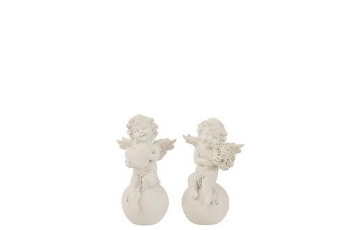 Ange + Boule Coeur/Bouquet Resine Blanc Small