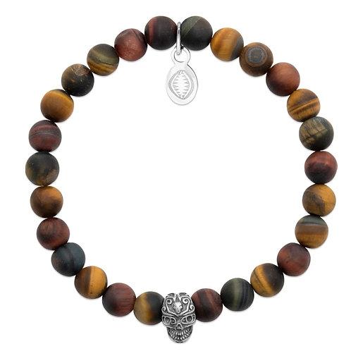 Bracelet Homme Skull - Oeil de  Tigre