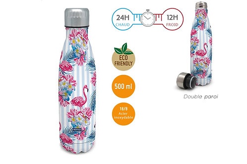 Bouteille isotherme 500 ml - Flamant Rose