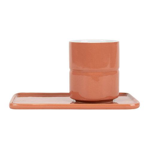 2 Gobelets avec Sous-Tasse 25 cl - Terracotta