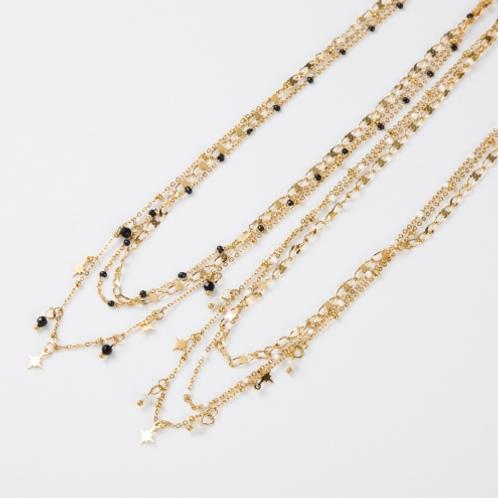 Collier Multi rang Perles - Acier Doré