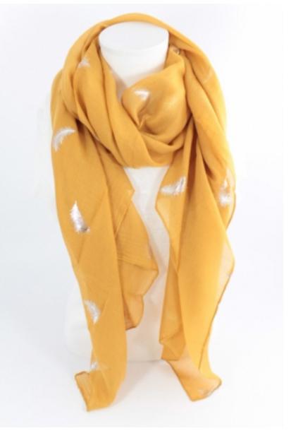 Echarpe plume lurex - moutarde