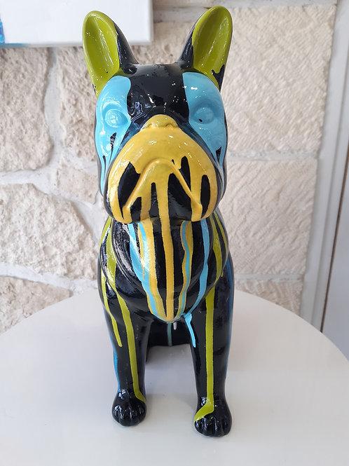 Sculpture Bouledogue Noir & Multicolore PAINT - Terre Cuite