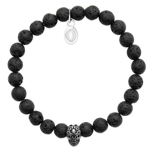 Bracelet Homme - Pierre de Lave Skull