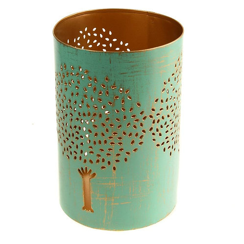 Tea Light Holder – Turquoise Tree Design
