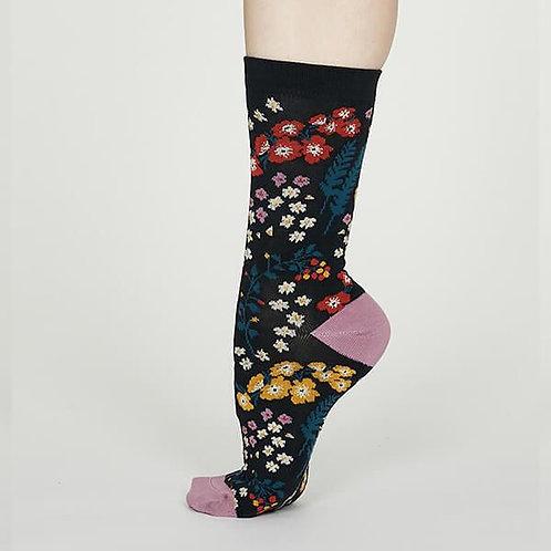 Thought Bamboo Socks - Blossom, Midnight Blue (Women's)