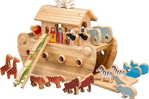 Wooden Noah's Ark - Deluxe with Coloured Characters