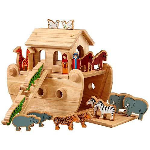 Wooden Noah's Ark - Junior with Coloured Characters