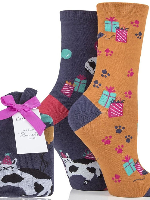 Thought Bamboo Socks-in-a-bag - Kitty Gift Paws (Women's)
