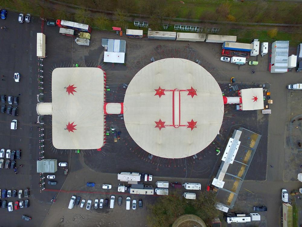 Circus Luftbild Heilbronner Weihanchtscircus