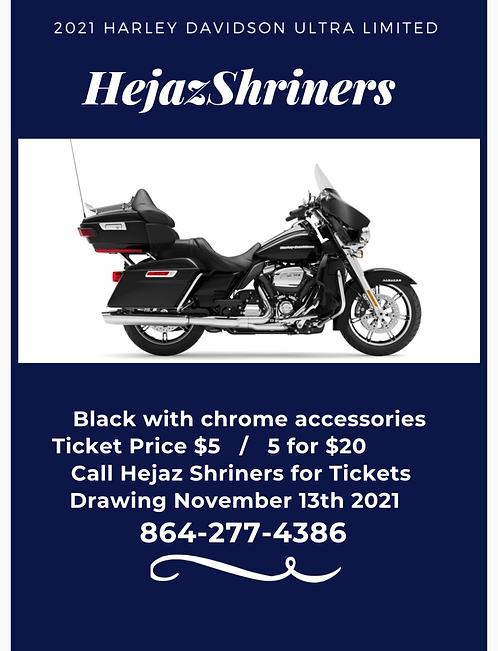 2021 Harley Davidson Ultra Limited (1 ticket)