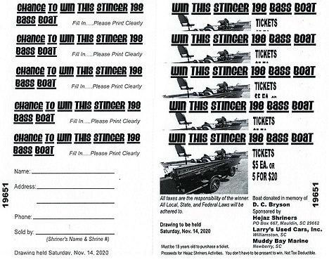 2020 Hejaz Bass Boat Raffle Ticket x5