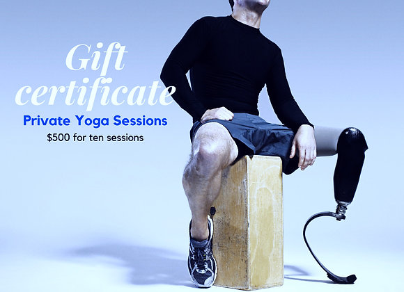 Ten Sessions Private Yoga Gift Certificate