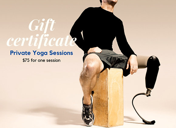 One Session Private Yoga Gift Certificate