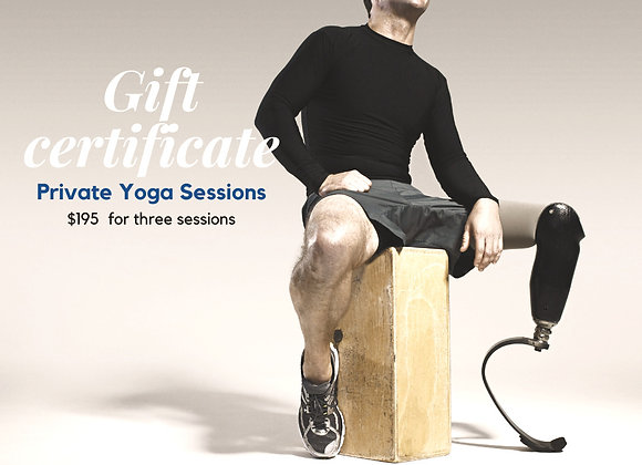 Three Sessions Private Yoga Gift Certificate