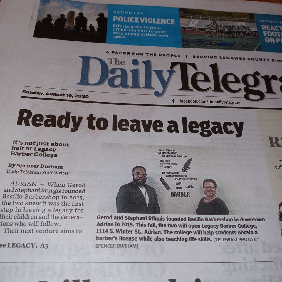 The Daily Telegram, newspaper of Lenawee County, did an interview recently on the new Barber College in Adrian, the first of its kind.