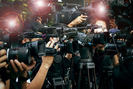 Press And Media Camera ,video Photographer On Duty In Public News Coverage Event For Reporter And Ma