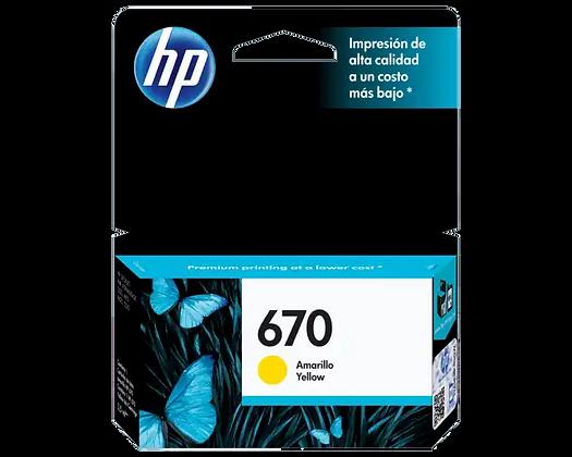 Cartucho de Tinta HP 670. Amarillo