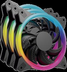 Kit de Ventiladores Ocelot Gaming OGPF01 RGB, 120mm, 1200RPM, Negro - 3 Piezas