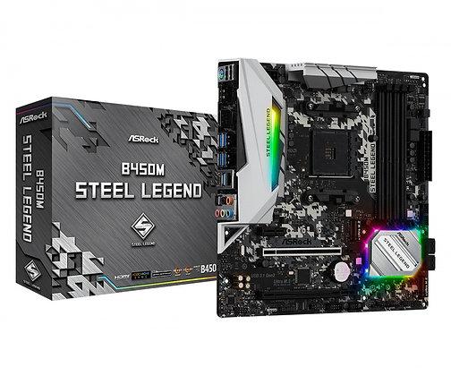 Tarjeta Madre ASRock Micro ATX B450M Steel Legend, S-AM4, AMD B450, HDMI, 64GB