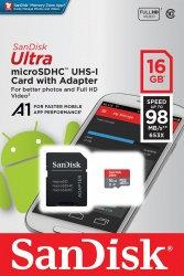 Memoria Flash SanDisk Ultra A1, 16GB MicroSDHC Clase 10, con Adaptador