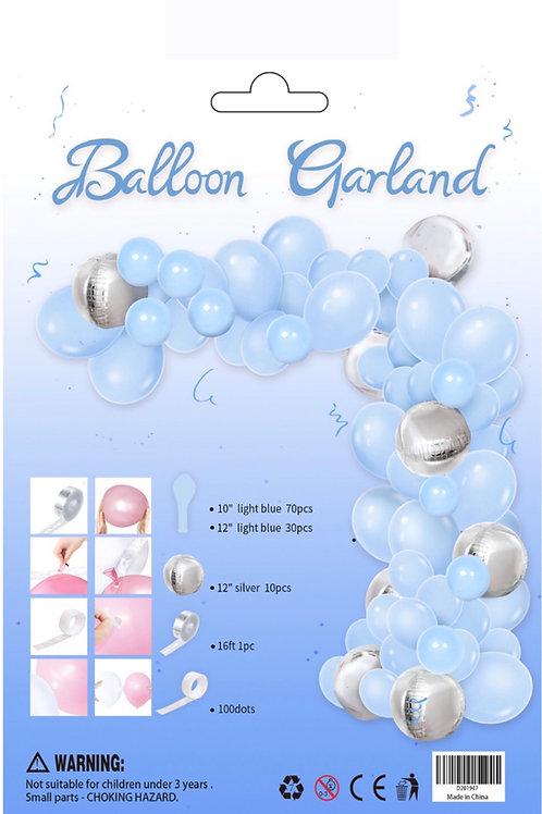 Balloon Arch Garland Kit Baby Blue Silver Foil Balloon 110 pieces