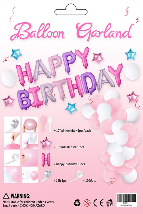 Balloon Arch Garland Kit Pink White & Happy Birthday Letters 110 pieces