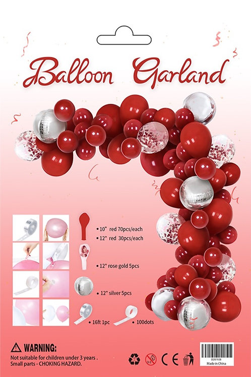 Balloon Arch Garland Kit Red Silver Foil Clear Confetti Balloon 110 pieces