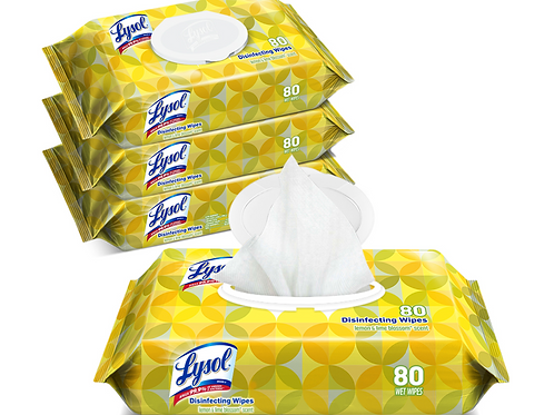 Lysol Disinfectant Wipes (4 x 80 wipes)