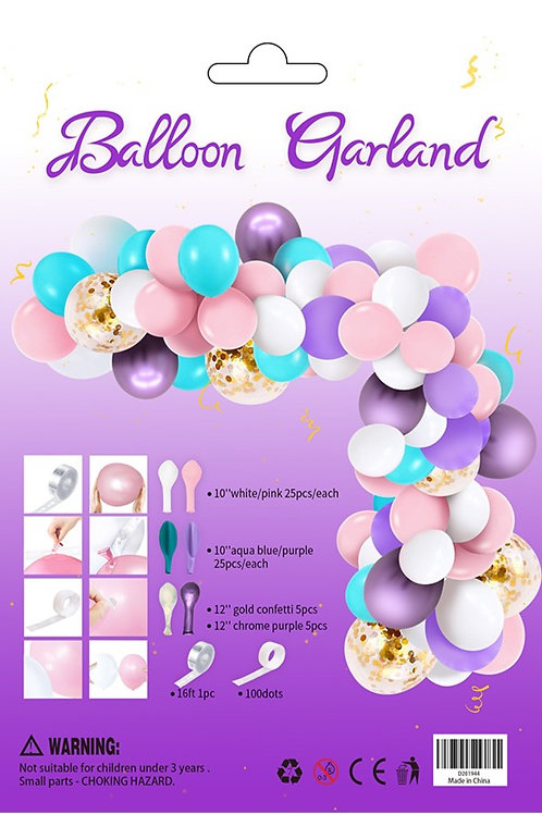 Balloon Arch Garland Kit Lavender Pink Turquoise Clear Balloon  Confetti 110 pcs