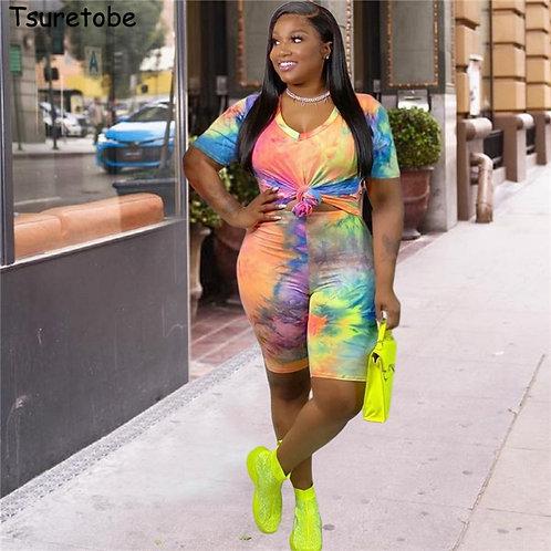 Plus Size Tie Dye Print 2 Piece Set Women Outfit Tee &  Biker Short Sets  XL-4XL