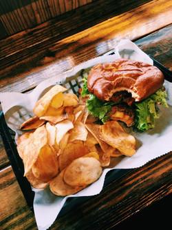 Local burger on a Pretzel Bun