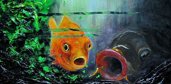 Arts Hamburg - ein weiteres Gemälde aus der Reihe LIPPENBEKENNTNISSE, im Format  80 x 40 x 8 cm. Weltmeere voller Plastik, und wir machen immer weiter - überall viel zu viel davon! Save the ocean! Das ist politische Kunst. Kunst aus Hamburg.