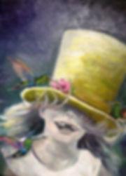 Ölgemälde,  mädchen, gemälde hamburg, arts hamburg, artwork, male hamburg, kolibri, humming-bird, gelber zylinder, zylinder,