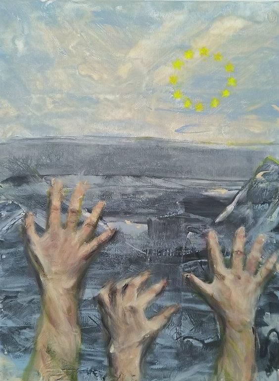 Acrylbild  40 x 30 cm. Was ist aus dem großartigen Europa geworden? Abschottung, Ignoranz, Unmenschlichkeit. Und das alles hinter einem Schleider mit der Aufschrift BIENVENUE!